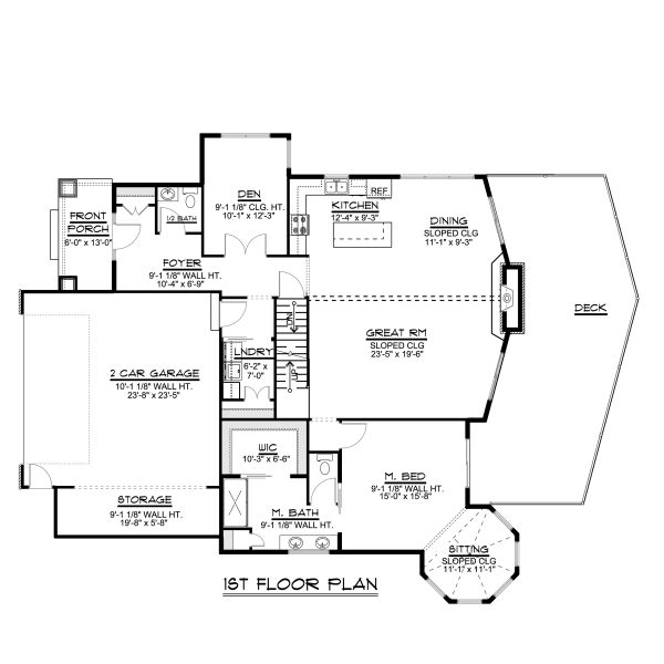 Craftsman Floor Plan - Main Floor Plan #1064-23