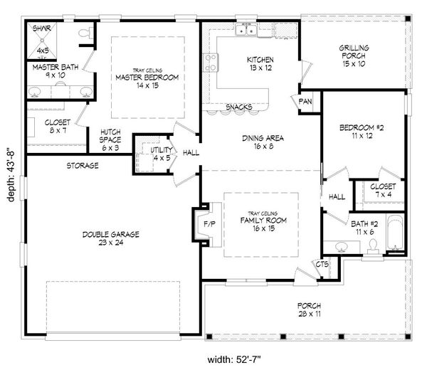 Traditional Floor Plan - Main Floor Plan Plan #932-143