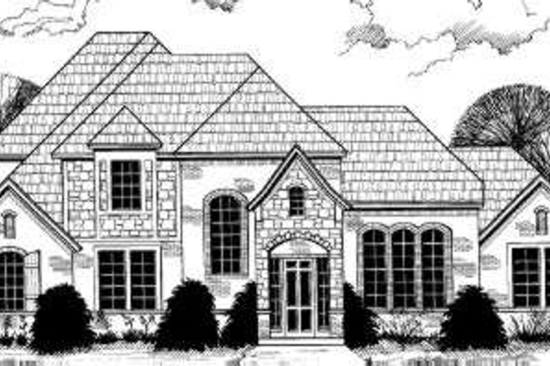 European Style House Plan - 6 Beds 4.5 Baths 3813 Sq/Ft Plan #317-129 Exterior - Front Elevation