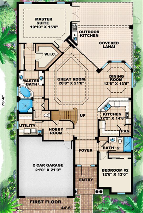 Mediterranean Floor Plan - Main Floor Plan Plan #27-445