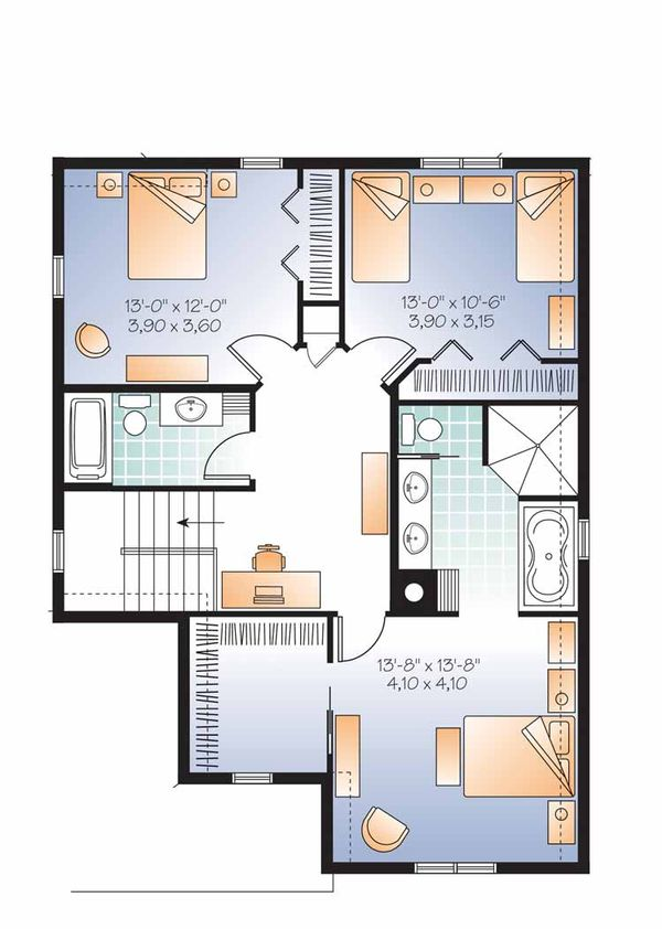 Traditional Floor Plan - Upper Floor Plan Plan #23-2505