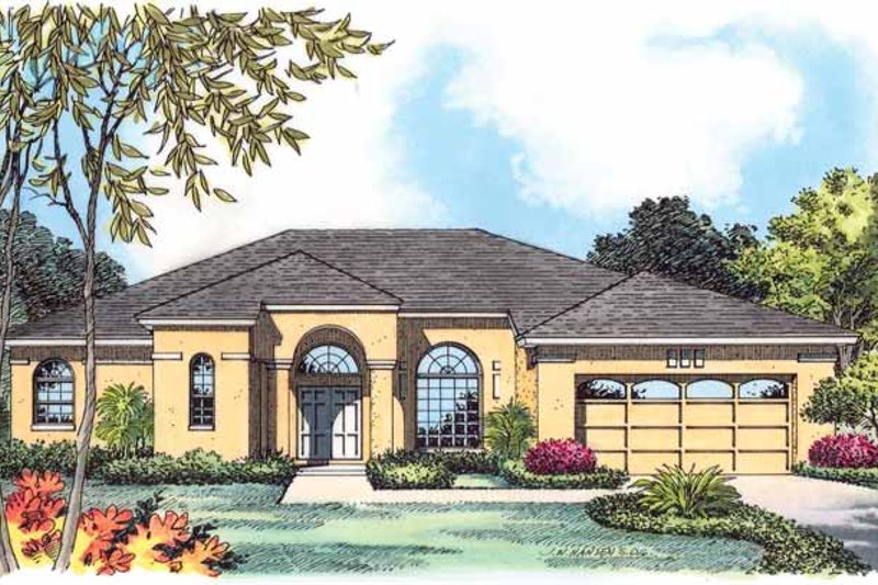Mediterranean Exterior - Front Elevation Plan #1015-12