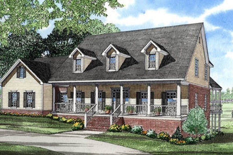 Architectural House Design - Country Exterior - Front Elevation Plan #17-253