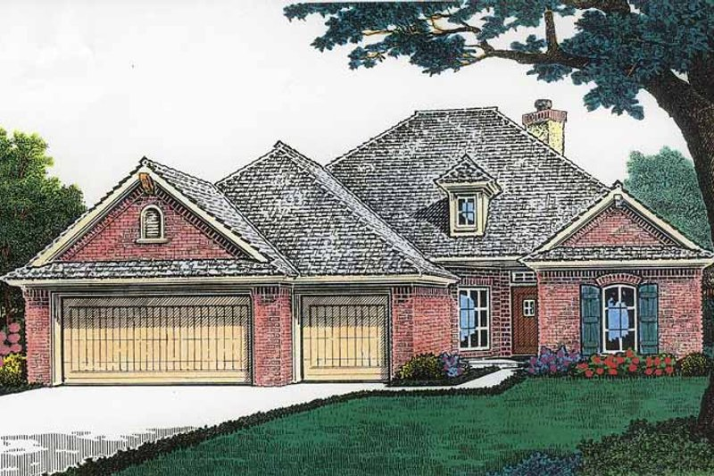 European Exterior - Front Elevation Plan #310-1194 - Houseplans.com