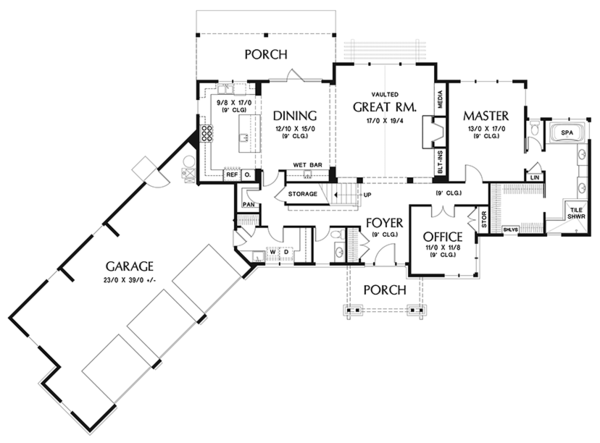 Craftsman Floor Plan - Main Floor Plan Plan #48-921
