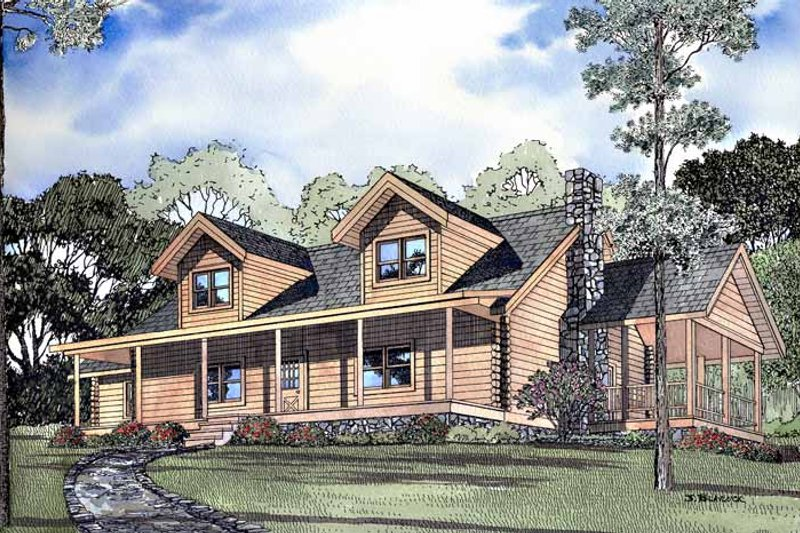 Log Exterior - Front Elevation Plan #17-3083