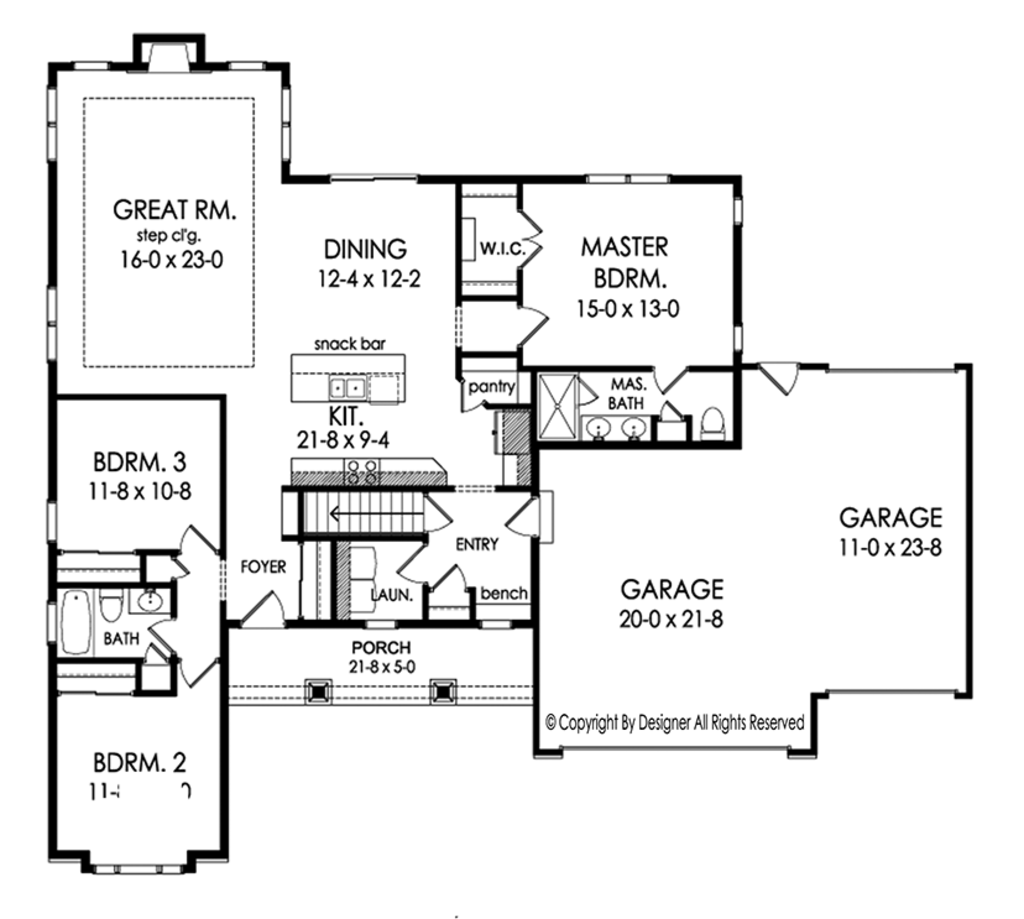 Ranch style house plan 3 beds 2 baths 1737 sq ft plan for Main floor