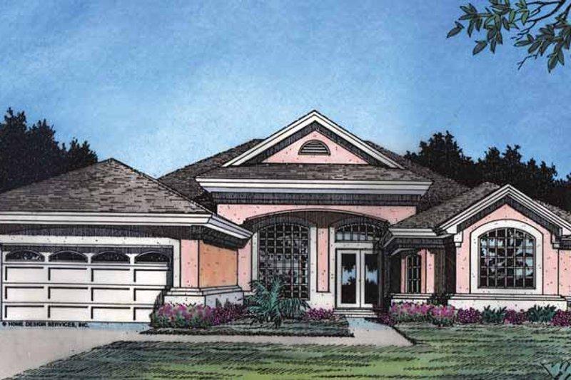 Dream House Plan - Mediterranean Exterior - Front Elevation Plan #417-495