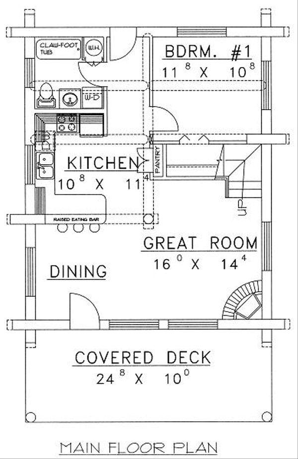 Architectural House Design - Log Floor Plan - Main Floor Plan #117-500