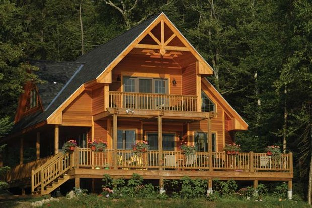 Cabin Exterior - Rear Elevation Plan #118-167