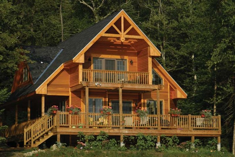 Cabin Exterior - Rear Elevation Plan #118-167 - Houseplans.com