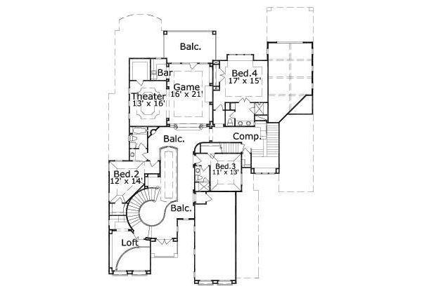 European Floor Plan - Upper Floor Plan Plan #411-842
