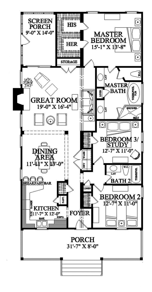 Architectural House Design - Country Floor Plan - Main Floor Plan #137-365
