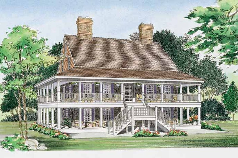 House Blueprint - Country Exterior - Front Elevation Plan #72-984