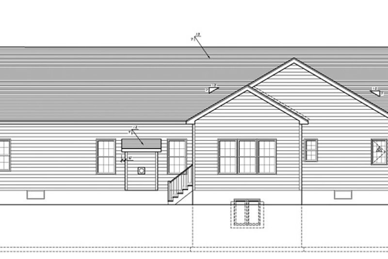 Ranch Exterior - Rear Elevation Plan #1010-84 - Houseplans.com