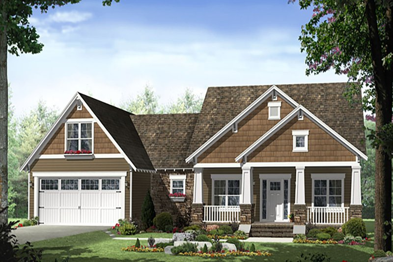 Craftsman Style House Plan - 3 Beds 2 Baths 1619 Sq/Ft Plan #21-398 Exterior - Front Elevation