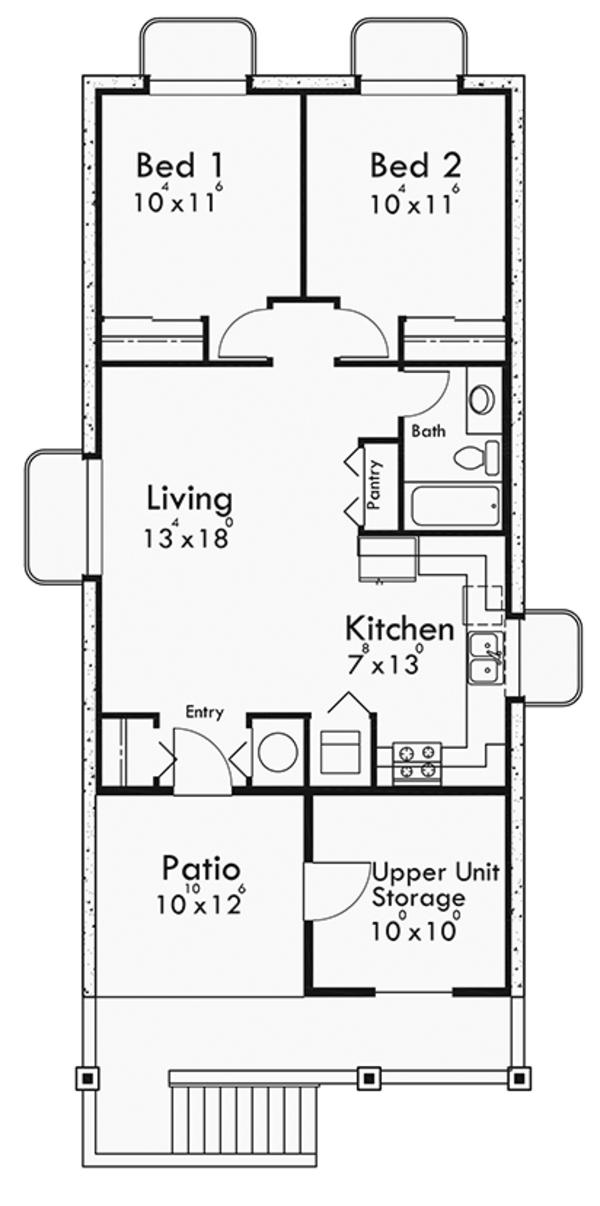 Craftsman Floor Plan - Lower Floor Plan Plan #303-473