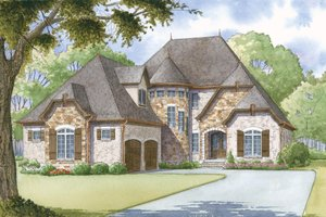 European Exterior - Front Elevation Plan #923-1