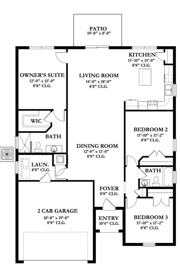 Mediterranean Floor Plan - Main Floor Plan Plan #1058-54