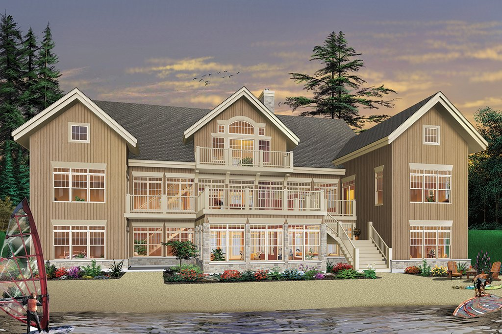 rear view 9000 square foot beach home - 9000 Square Feet House Plans