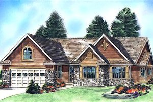 Ranch Exterior - Front Elevation Plan #18-2004