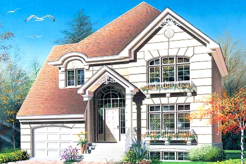 European Exterior - Front Elevation Plan #23-2132
