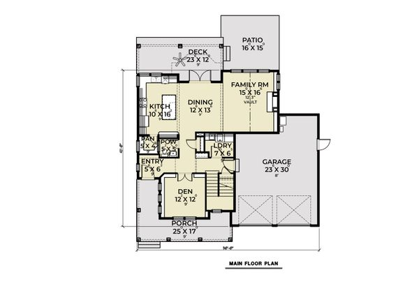Craftsman Floor Plan - Main Floor Plan #1070-126