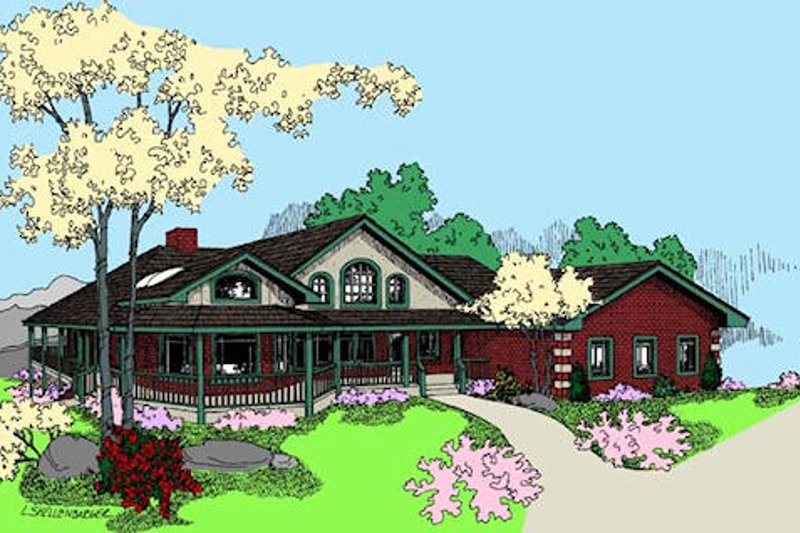 Country Style House Plan - 2 Beds 2.5 Baths 2355 Sq/Ft Plan #60-645 Exterior - Front Elevation