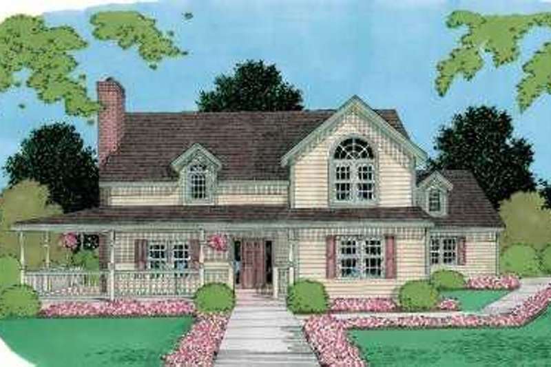 Traditional Style House Plan - 4 Beds 2.5 Baths 2418 Sq/Ft Plan #75-166 Exterior - Front Elevation