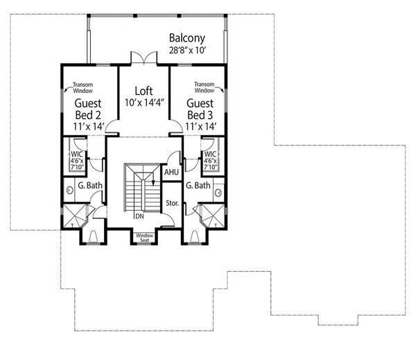 Southern Floor Plan - Upper Floor Plan Plan #938-93