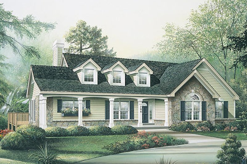 Country Exterior - Front Elevation Plan #57-298 - Houseplans.com