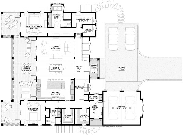 House Plan Design - Adobe / Southwestern Floor Plan - Main Floor Plan #928-339
