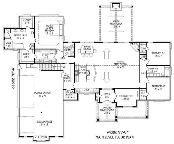 Country Floor Plan - Main Floor Plan #932-147
