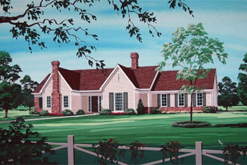 Country Style House Plan - 4 Beds 2 Baths 2200 Sq/Ft Plan #45-348 Exterior - Front Elevation