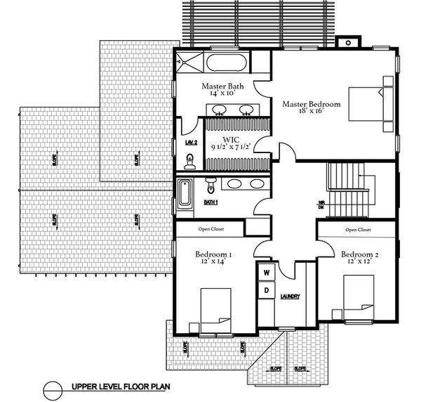 Traditional Floor Plan - Upper Floor Plan #497-20