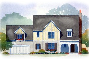 Tudor Exterior - Front Elevation Plan #901-73