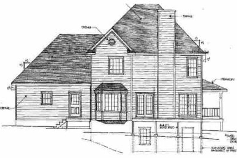 Traditional Exterior - Rear Elevation Plan #10-218 - Houseplans.com