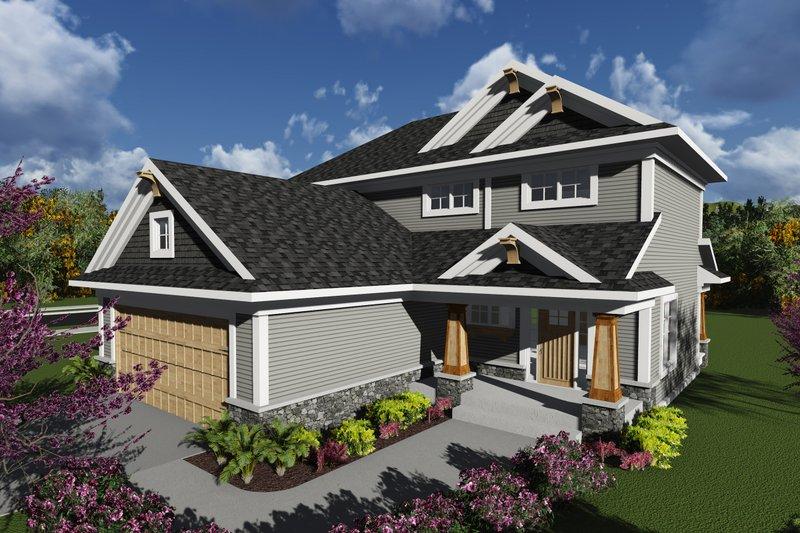 Architectural House Design - Craftsman Exterior - Front Elevation Plan #70-1239