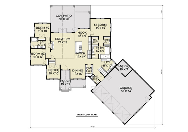 Farmhouse Floor Plan - Main Floor Plan Plan #1070-22