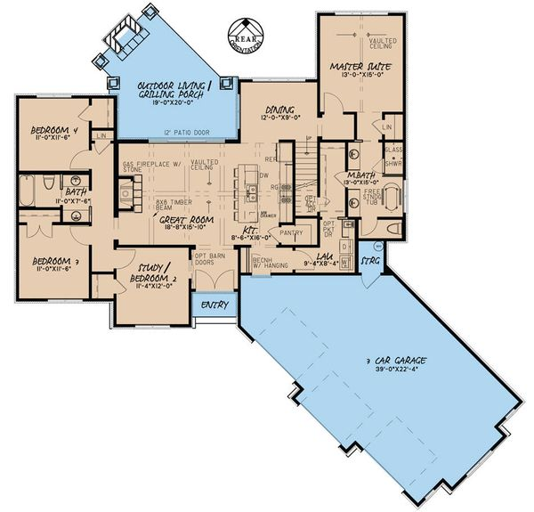 Traditional Floor Plan - Main Floor Plan Plan #923-29
