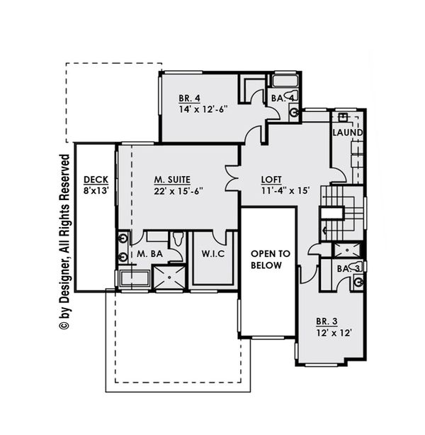 Contemporary Floor Plan - Upper Floor Plan Plan #1066-34