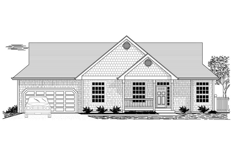 Craftsman Style House Plan - 3 Beds 2 Baths 1615 Sq/Ft Plan #53-546 Exterior - Front Elevation