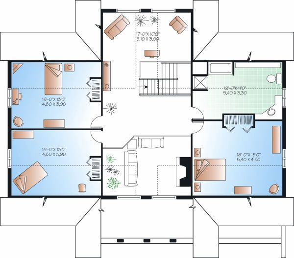 Log Floor Plan - Upper Floor Plan Plan #23-752