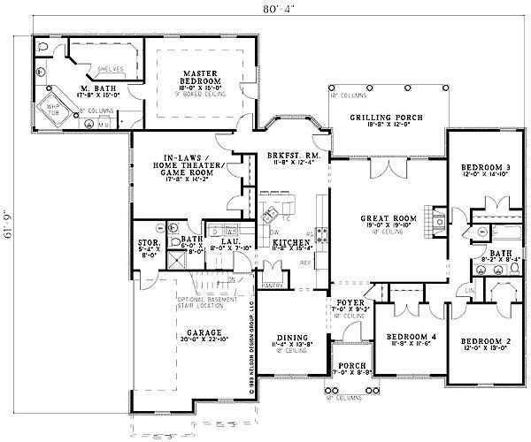 European Floor Plan - Main Floor Plan Plan #17-1164