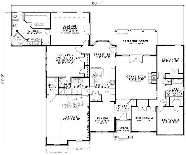 European Floor Plan - Main Floor Plan #17-1164