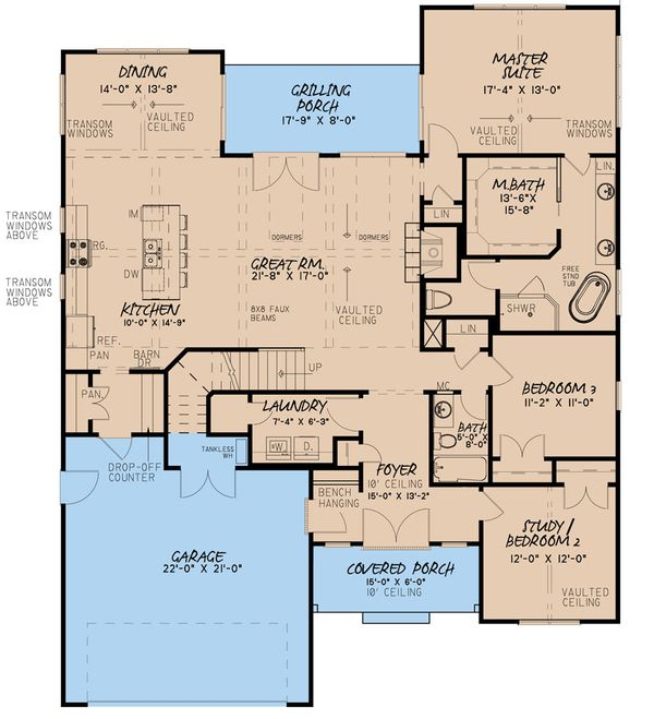 House Plan Design - Craftsman Floor Plan - Main Floor Plan #923-159