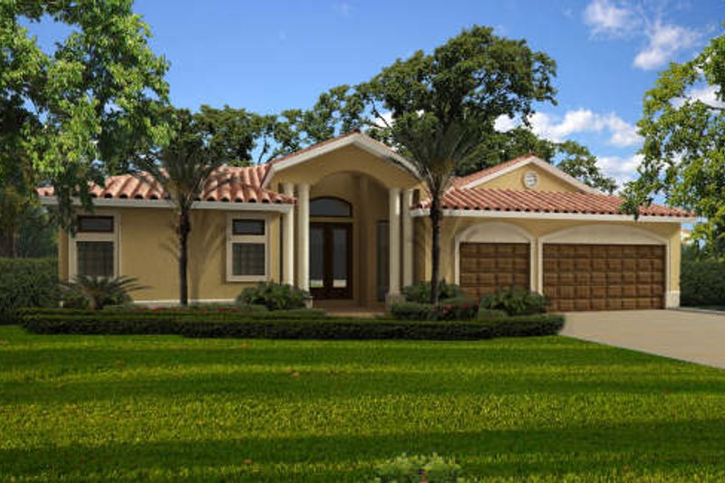 Mediterranean Style House Plan - 4 Beds 3 Baths 2403 Sq/Ft Plan #420-269 Exterior - Front Elevation