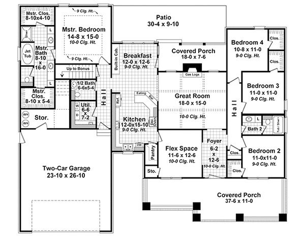 Craftsman Floor Plan - Main Floor Plan Plan #21-330