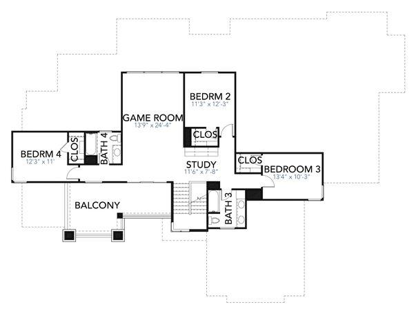 Contemporary Floor Plan - Upper Floor Plan Plan #80-217