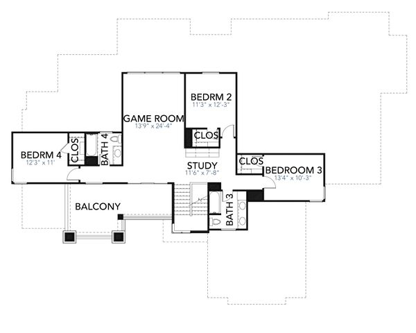 House Plan Design - Contemporary Floor Plan - Upper Floor Plan #80-217